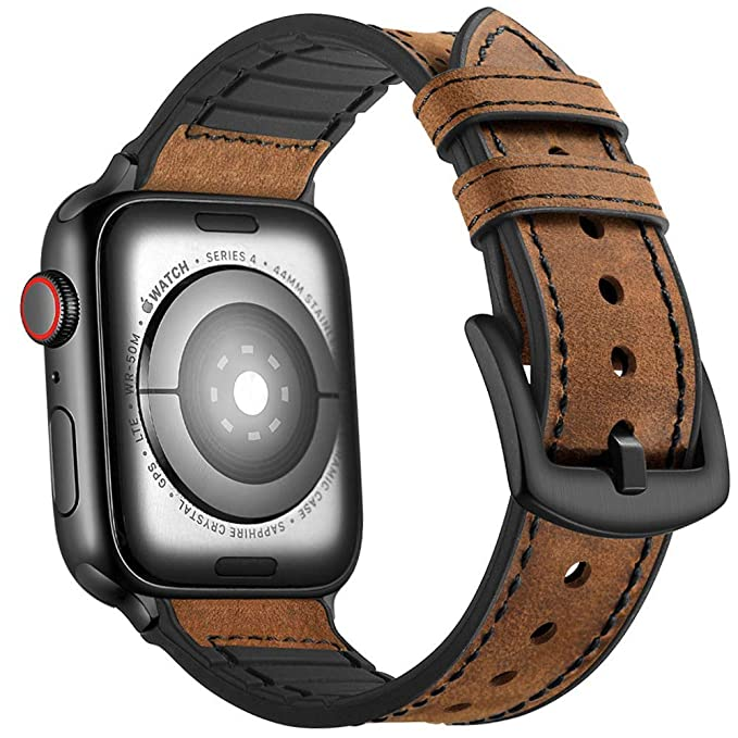 5551dbd62db Mifa Hybrid Leather Sports Band Compatible with Apple Watch Vintage Dressy  Bands Dark Brown Replacement Straps Sweatproof iwatch Series 4 1 2 3 Nike  Space ...