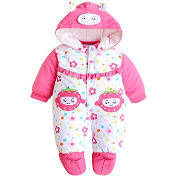 b5d15aa220d8a Image Unavailable. Image not available for. Color  Baby Girls Romper Newborn  Thicken Snowsuit Fall Winter Jumpsuits Outfit (9-12 Months