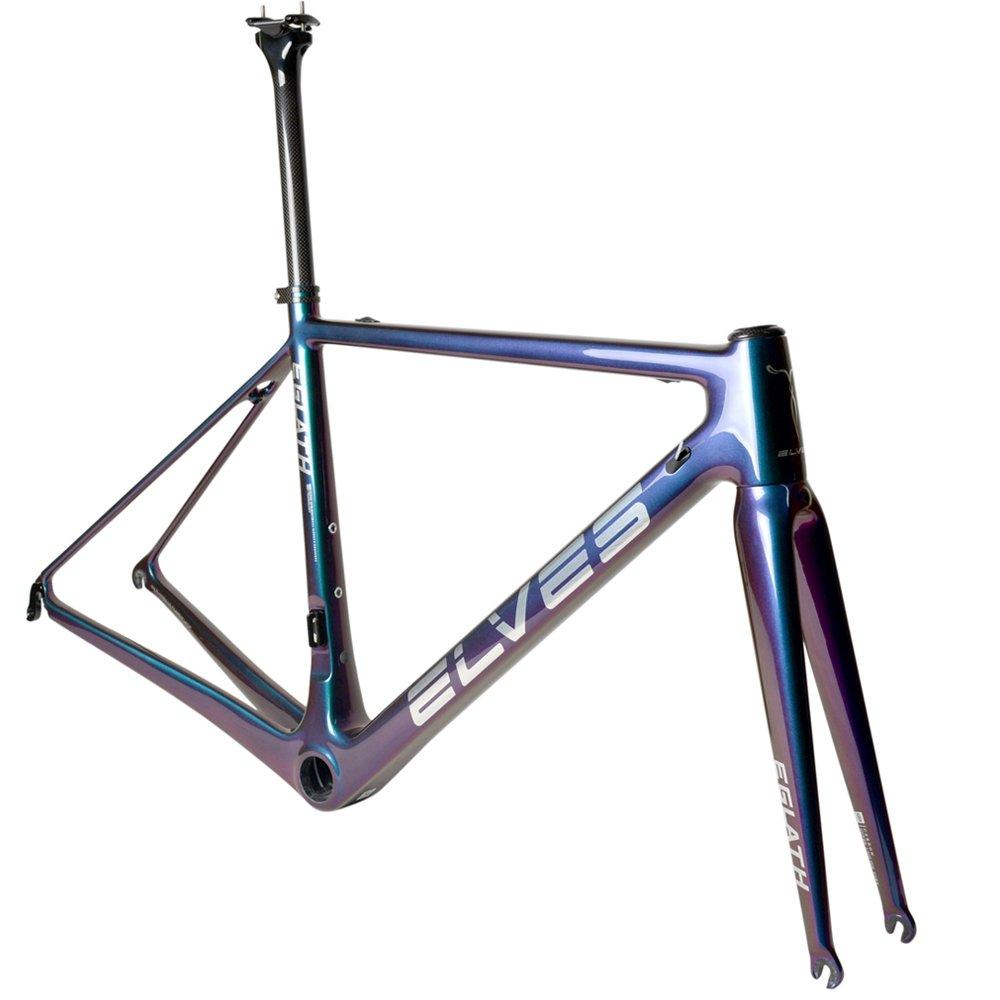 ELVES EGLATH T800ロードバイクフレーム カーボンファイバー自転車フレームヒルクライミングロードバイクフレーム B07GCJV9DR 紫から金 48.0 センチメートル 紫から金