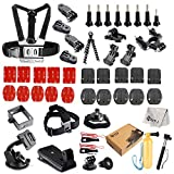 SNT Accessories Kit with Flexpod Flexible Tripod Chest Harness Suction Cup Mount Selfie Stick Bike Tripod Head Strap Mount for Gopro Hero4 Hero3 2 HD HERO+(Wi-Fi Enabled) LCD Black Silver Cameras