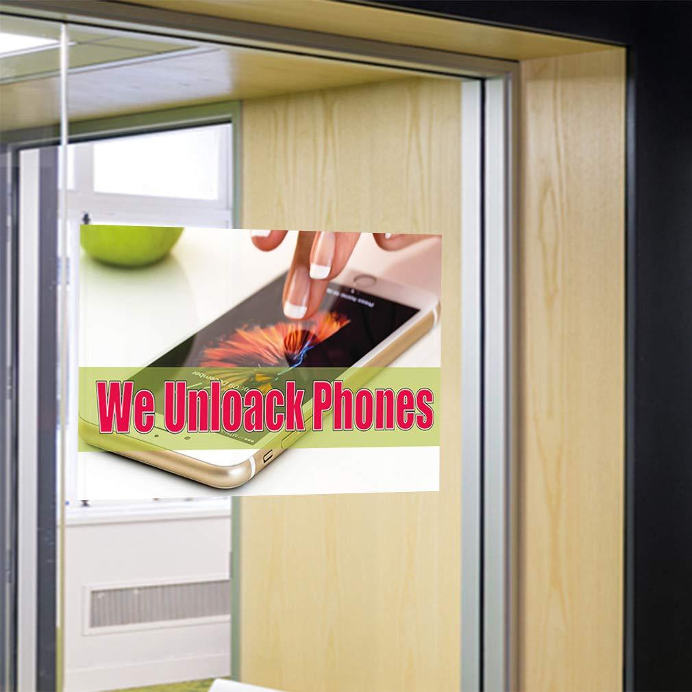 Decal Sticker Multiple Sizes We Unlock Phones #1 Retail Phones Outdoor Store Sign Brown Set of 5 27inx18in