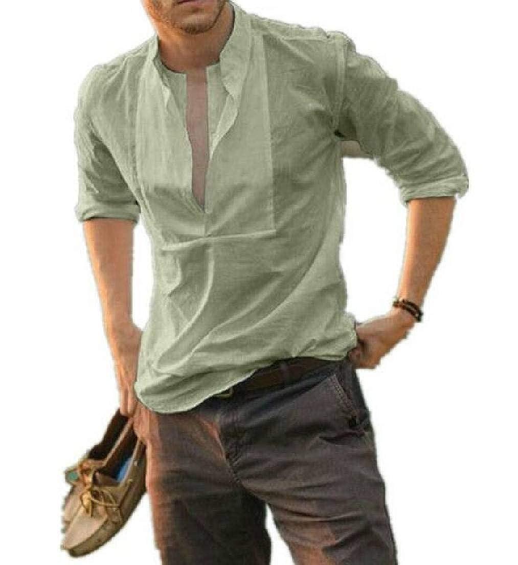 Abeaicoc Men Solid Color Slim Casual Long Sleeve Crewneck Shirts