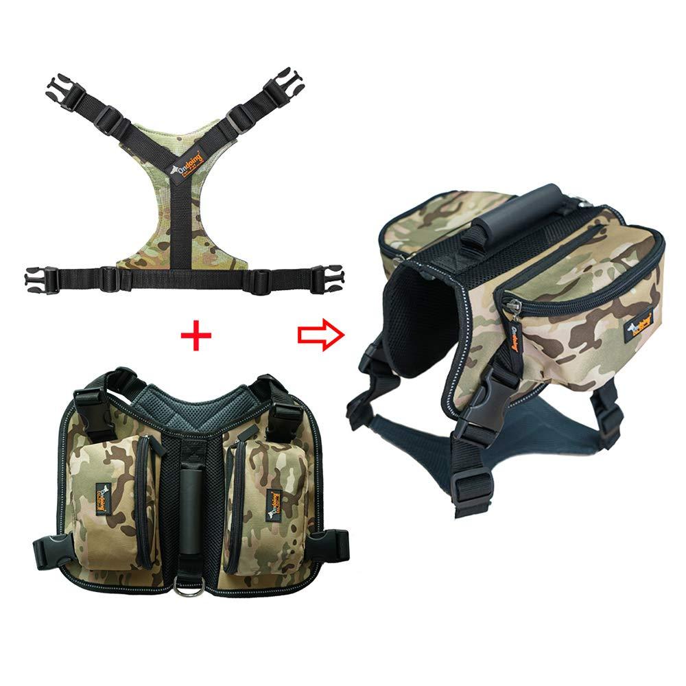 Dog Backpack, Pet Chest Strap with Dog Strap Medium Large Dog Leash Vest Style Dog Leash Dog Chain Shape,GreenCamouflage,XL