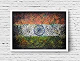 Flag of India, Hand-Painted Indian Flag, Distressed Flag, Vintage, Mixed Media, Textured Art, Rustic Industrial Style, Flag Painting