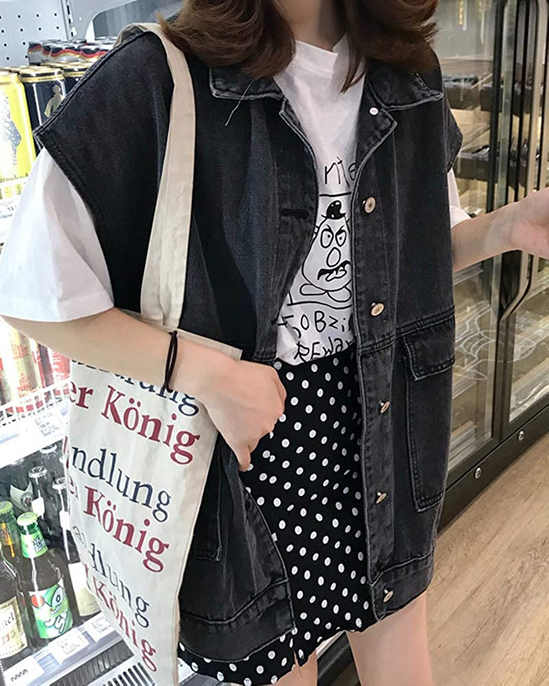 PengGengA Gilet Jeans Elegante Donna Single Breasted Senza Maniche Casual Sciolto Bavero Cappotto