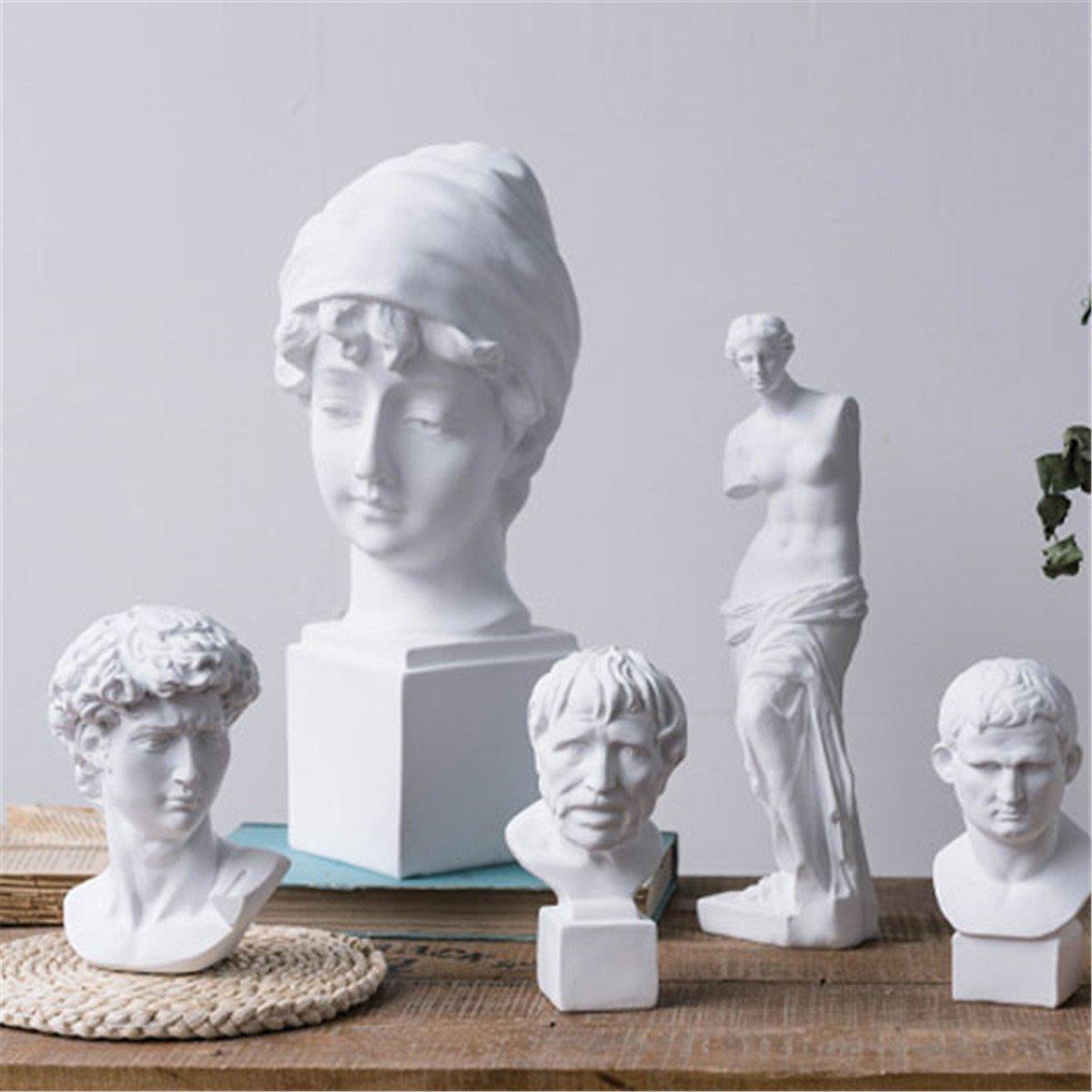 Dollhouse Miniature Resin Statue Venus David Bust  Sculpture White LL