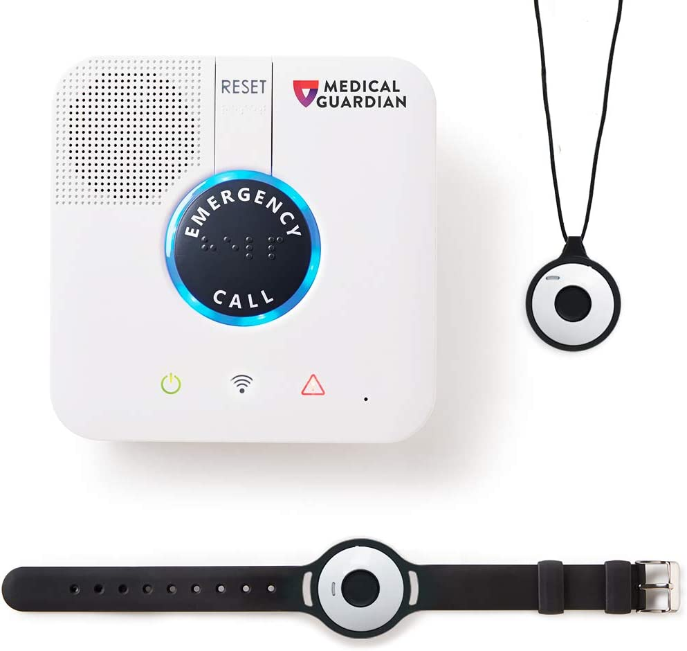 Home Guardian Caregiver Call Button System by Medical Guardian™ - Medical Alert Bracelet and Medical Alert Necklace Call Button, 24/7 Monitoring, Including Complete Cellular Coverage (1 Month Free)