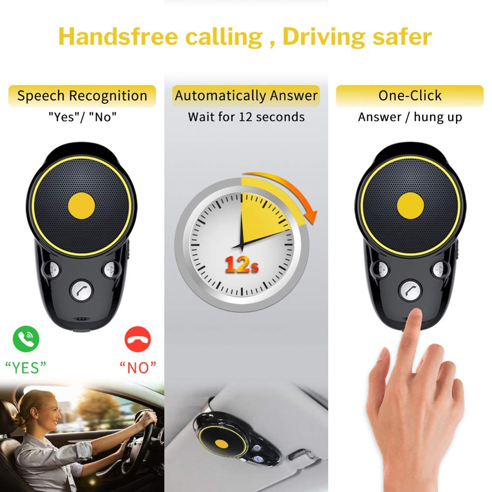 Black Grebest Car Bluetooth Receiver Car Intelligent System Adapter Auto Car Sun Visor Clip-on Wireless Bluetooth Hands-Free Call Speaker with NFC