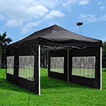 Yescom 10x20 Feet Easy Pop Up Canopy Folding Wedding Party Tent Removable Sidewall Carry Bag Outdoor Black