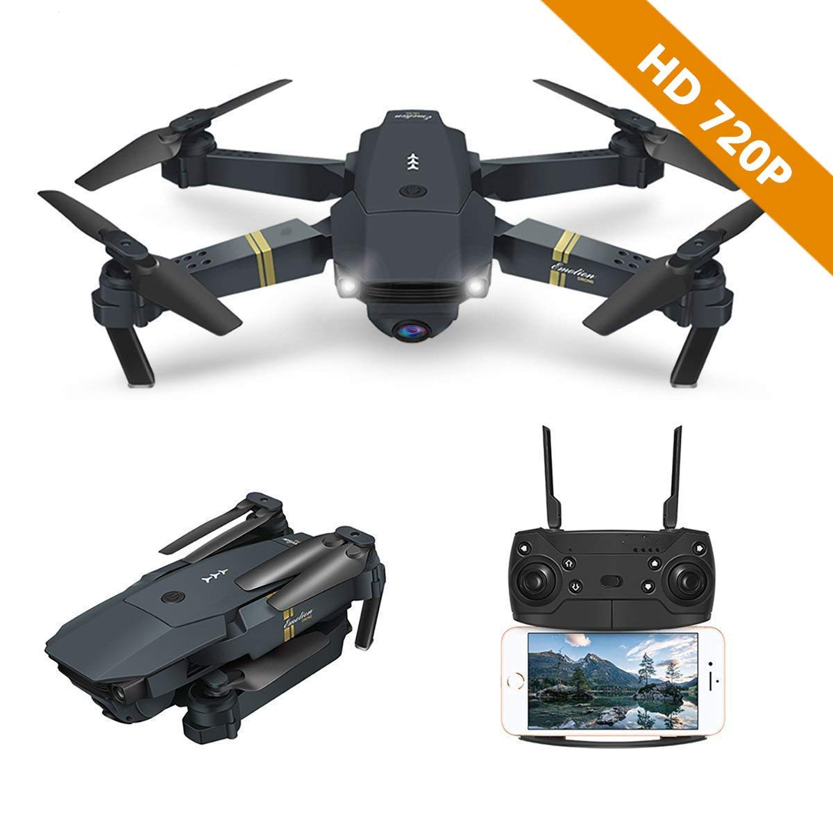 Unbekannt Drone with Camera, E58 WiFi FPV Quadcopter Mit 2MP 720P Wide Angle Camera Live Video Mobile APP Control Folable Altitude Hold Mode Selfie Pocket RC Helikopter RTF