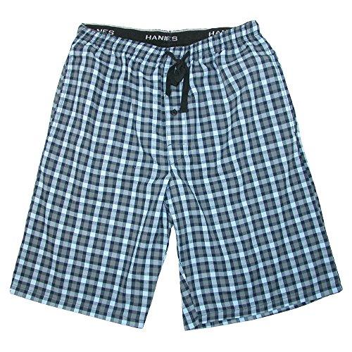 Hanes Men's Cotton Madras Drawstring Sleep Pajama Shorts, Large, (Pattern Cotton Sleep Pants)