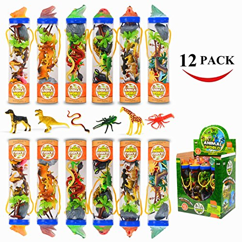 Original Color Animal Figure,12 Pack Assorted Dinosaur Animal Insect Sea Animal Farm Amphibian Toy(2 Same Pack Per Theme), Mini Plastic Animal Playset for Party Favors,Cake Toppers Toys for Kids by Original Color
