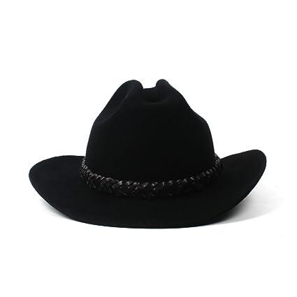 XHD-Sombreros Sombrero de Bailey Negro Vintage Sombrero de Vaquero Sombrero  de Lana de Las Mujeres de Moda Sombrero de Vaquero Sombrero de ala Ancha  Moda y ... f274a6b9802