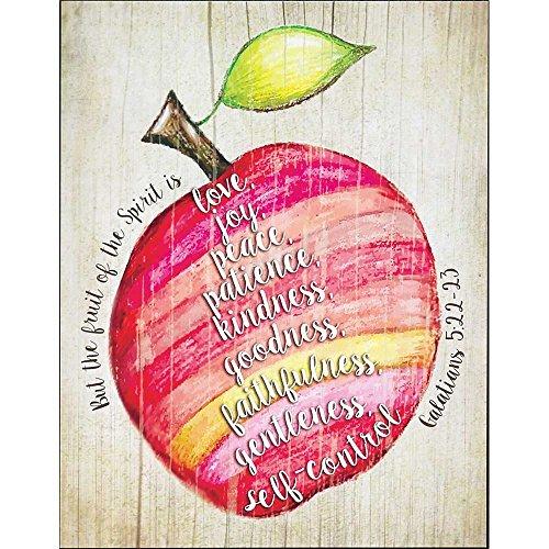 Fruit of the Spirit Galatians 5:22-23 Apple Design Colorful 14 x 11 Wood Wall Art Sign Plaque (Apple Wall Art)