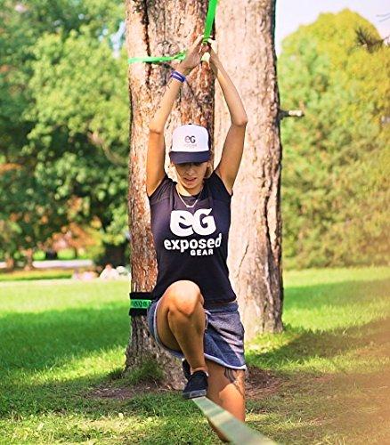 Slackline Kit 60ft with Training Line Tree Protectors High Grade Ratchet + Cover Arm Trainer Set Up Instruction Booklet…