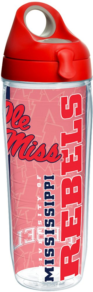 Tervis 1220686 Ole Miss Rebels College Pride Tumbler with Wrap and Red with Gray Lid 24oz Water Bottle Clear