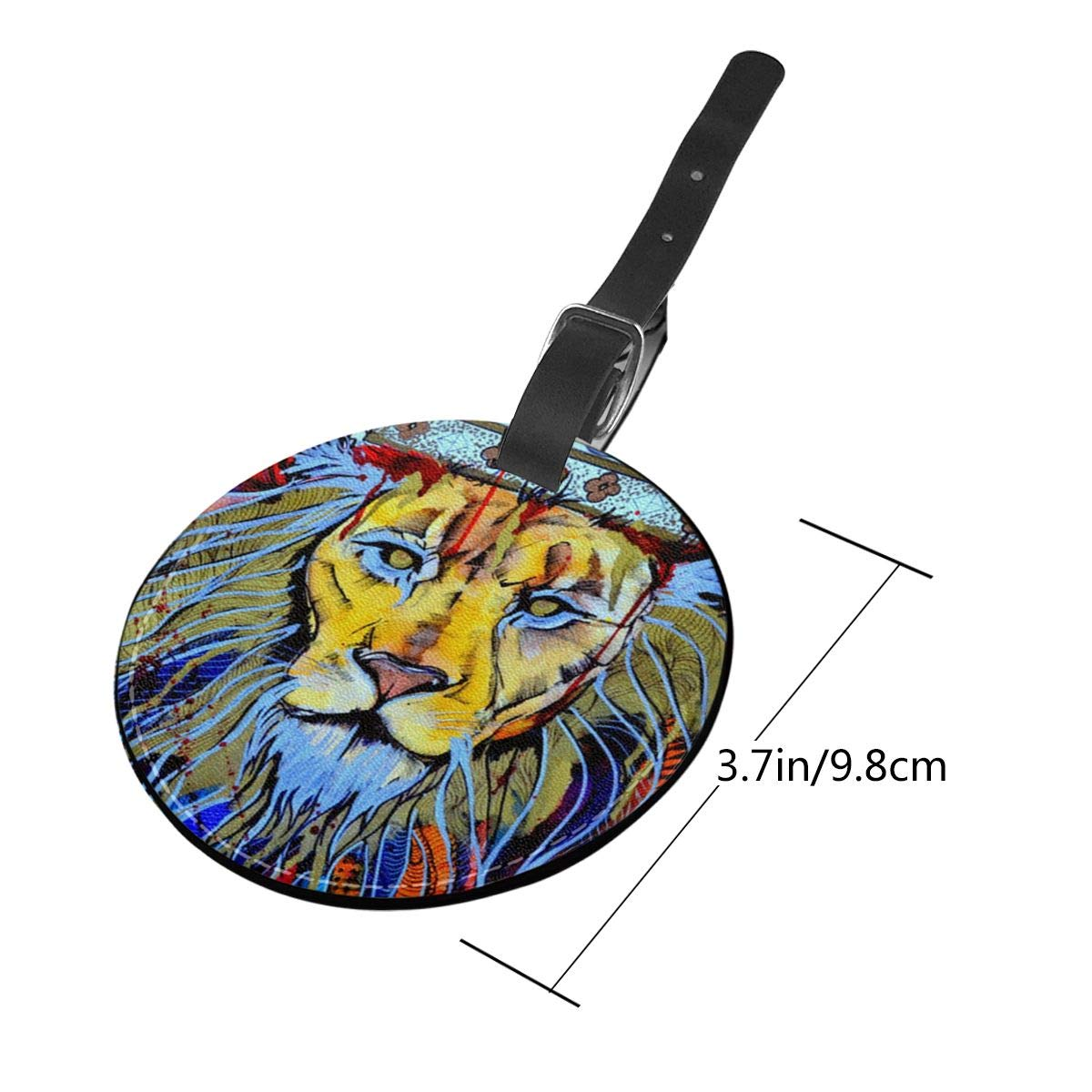 Free-2 Lion Beast King Jah Rasta Luggage Tag 3D Print Leather Travel Bag ID Card