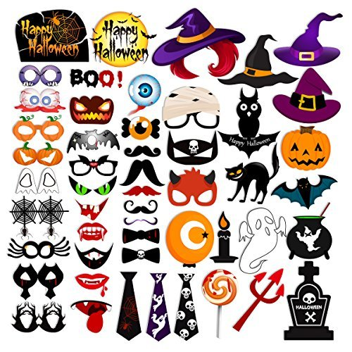 53pcs HAPPY HALLOWEEN Photo Booth Props Witch Hat Pumpkin Bat Tombstone Fancy Party Decor Supply Gift Box ()