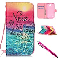 LG Optimus Zone 3 / LG K4 / LG Spree Case, Firefish Kickstand Flip [Card Slots] Wallet Cover Bumper Shell with Magnetic Closure Strap Protective Case for LG Optimus Zone 3 / LG K4 LTE / LG Spree