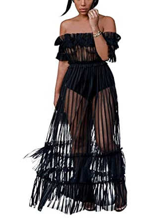 1047ff84e4 Sprifloral Women Black Cover up Sheer Long Dress Off Shoulder Pleated  Skirts Small