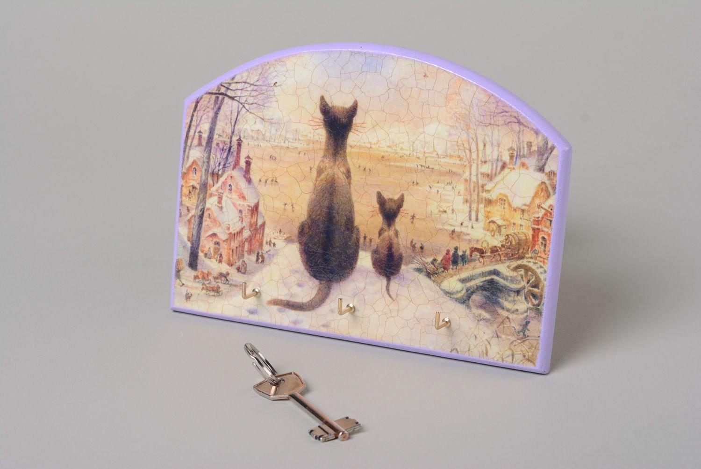 Handmade Decoupage Plywood Key Holder With Cats