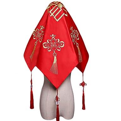 Amazon.com: Bufanda china tradicional de boda con velo rojo ...