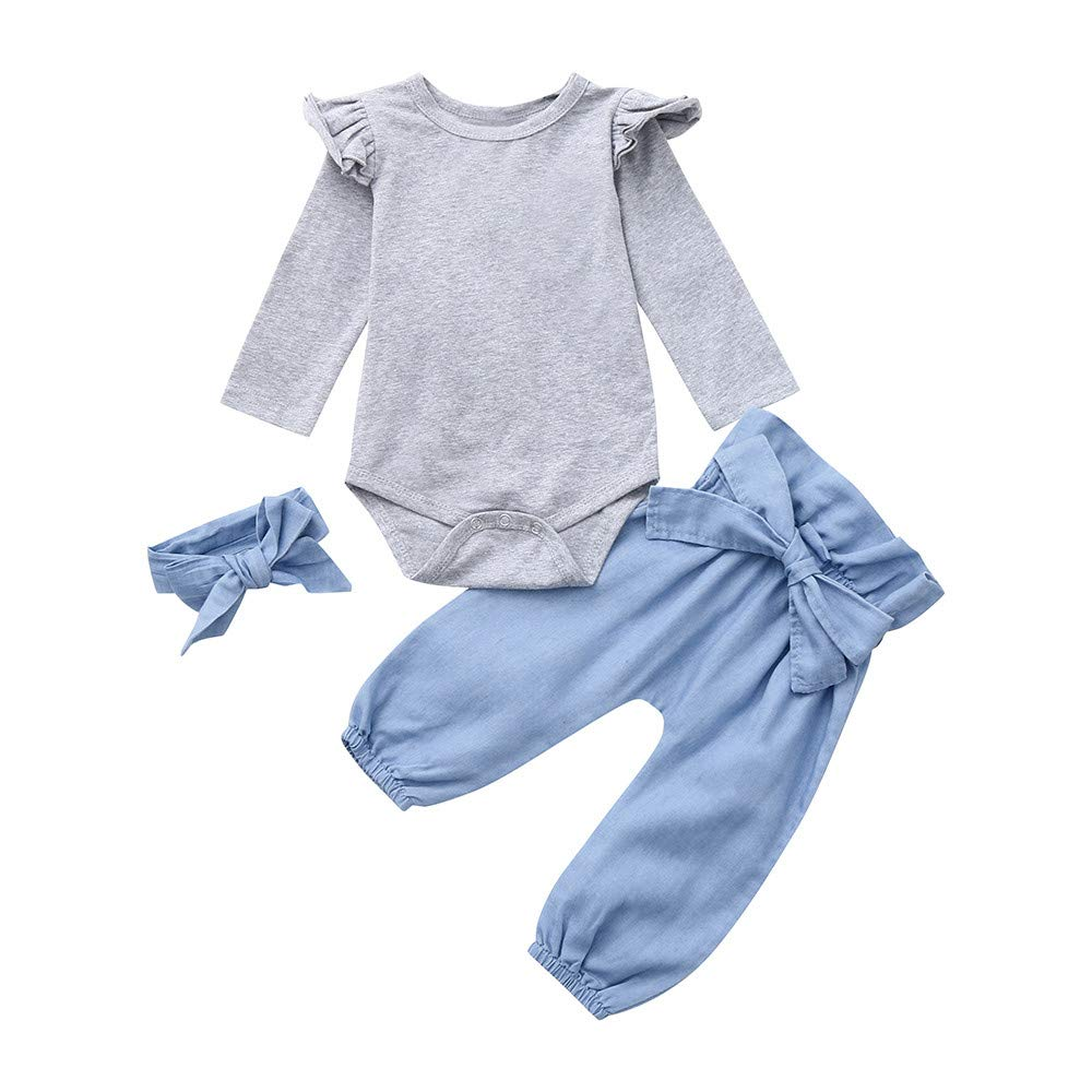 06f19d7cb Amazon.com: NUWFOR Newborn Baby Girls Long Sleeves Top+Pants+Headband Outfit  Kids Clothes Suit Set?Gray,6-12Months: Beauty
