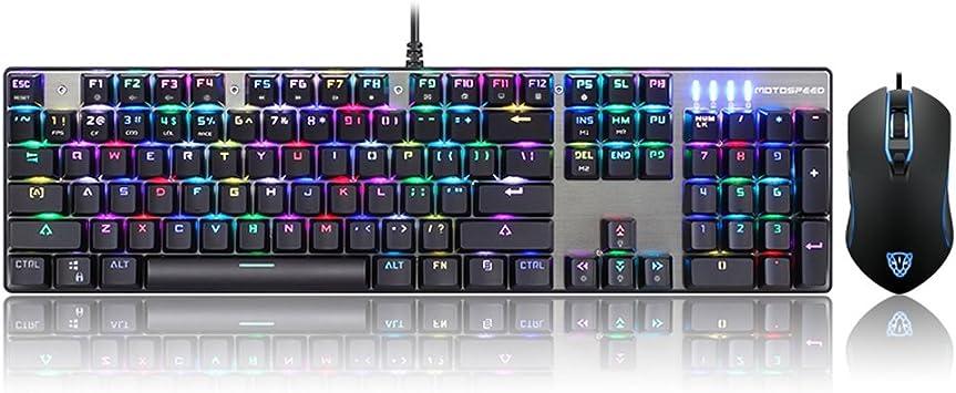 Full RGB mecánico gaming teclado y ratón Set, motospeed ck888 RGB retroiluminación teclado mecánico de teclado + ratón combinación con ...