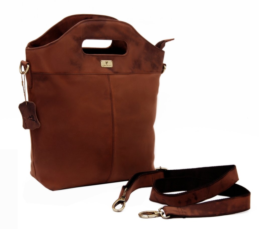 DH Darlington genuine buffalo leather shopper bag in vintage style
