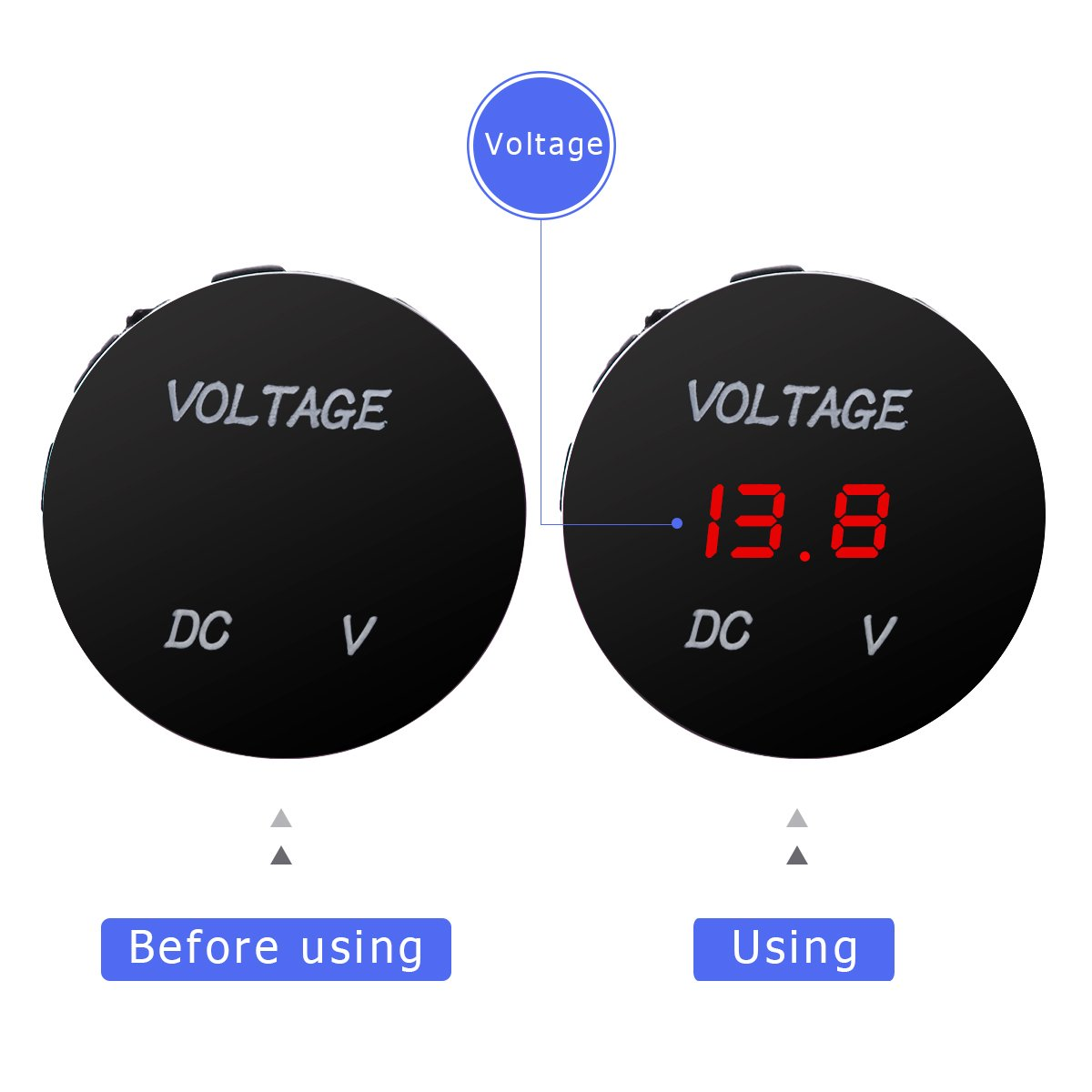 WINOMO Digital Display Voltmeter Waterproof Voltage with a Adapter Nut for DC 12V-24V Car Motorcycle Auto