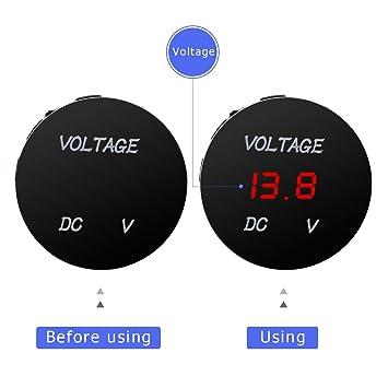 Winomo - Voltímetro/tensiómetro con pantalla digital LED en rojo (12 - 24 V