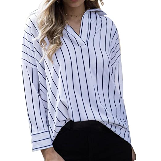 d2837d3d9a0 Kangma Women s Sexy Stripe Print Shirts Tops V-Neck Casual Button Blouse  White at Amazon Women s Clothing store