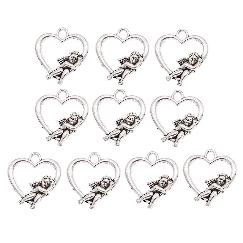 Kesheng 10pcs Breloques Coeur Angel Argenté DIY Bijoux Accessoire