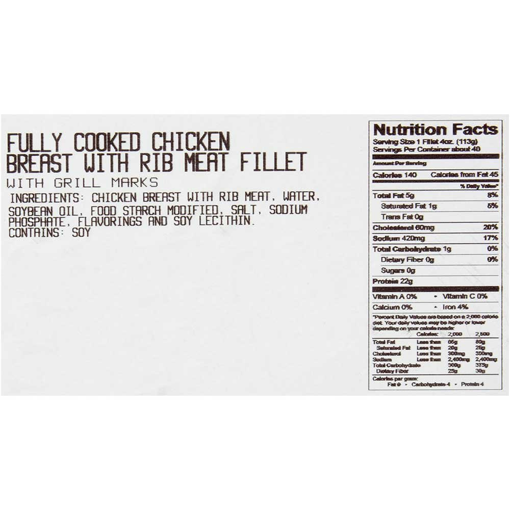 Dutch Quality House Naturelle Fully Cooked Seasoned and Grill Marked Chicken Breast Fillets, 4 Ounce - 1 each.