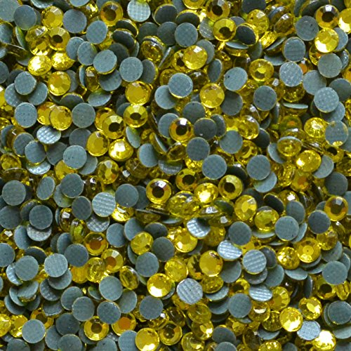 (2mm (6ss) Hot Fix Korean Rhinestones 50 Gross Approx 7200 Stones by Weight (Citrine Yellow))