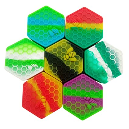 SZBS Silicone Container jar 2pcs/lot 26ml hexagon Honeycomb-shape assorted  color container for Dab Silicone Storage Container wax Concentrate Jar Dab