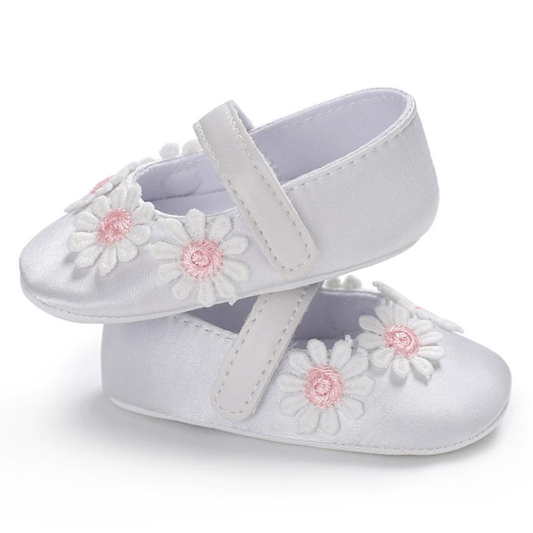 Moonker Baby Girls Shoes 0-18 Months,Infant Toddler Girl Flowers Soft Sole Crib First Walking Shoes Prewalker