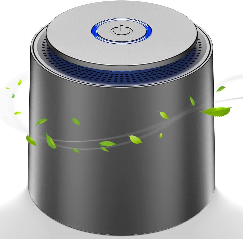 Mini Purificador de Aire, con Filtro HEPA Eficiente,Purificador de Aire USB Portátil con Luz Nocturna y Función de Aromaterapia para Hogar,Oficina Eliminar Polvo, Polen, Humo, olor,PM2.5