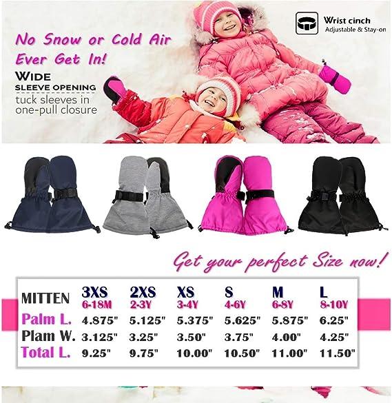 Highcamp Mitaines de Ski Snows Up pour Tout-Petits//Enfants imperm/éables Easy on Stay on Gauntlet
