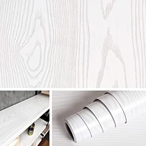 Livelynine White Wood Wallpaper Peel and Stick Wood Paper Self Adhesive Shelf Liner for Kitchen Cabinet Liner White Wood Bulletin Board Paper Roll Beadwood Paper15.8x78.8 Inches