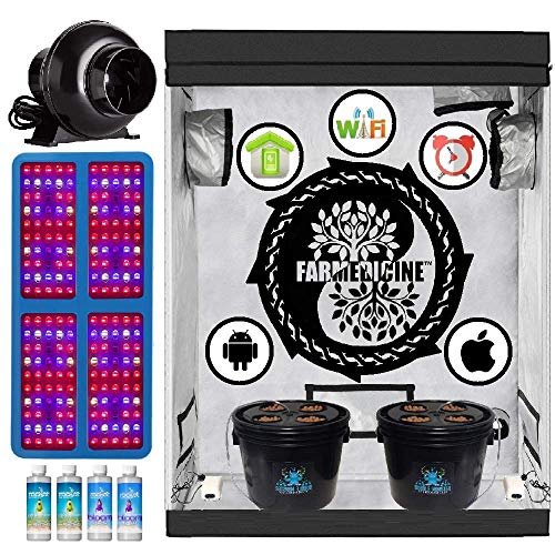 Farmedicine Wireless 24' × 48' × 70' Ventilated 2000 Watt 8 Site Smart Hydroponic Grow Kit System