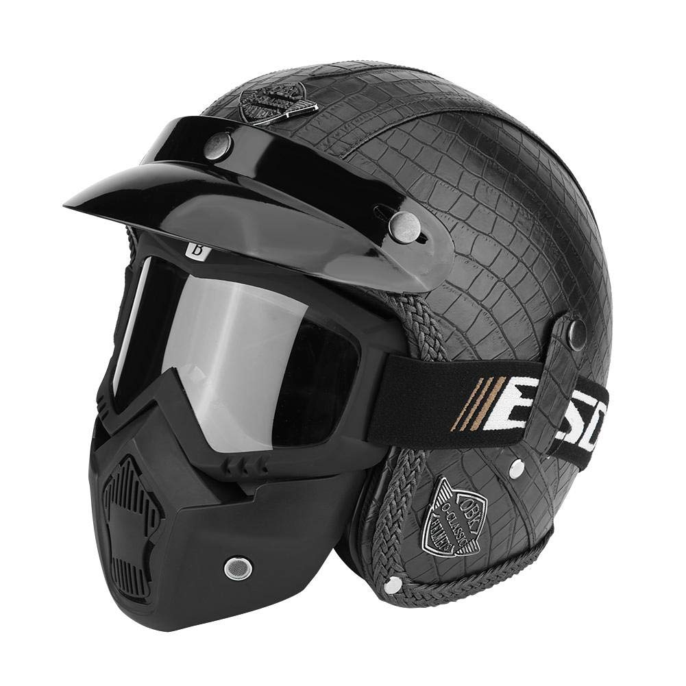 casco y gafas con detecci/ón facial para scooter de moto Casco de moto universal de piel sint/ética