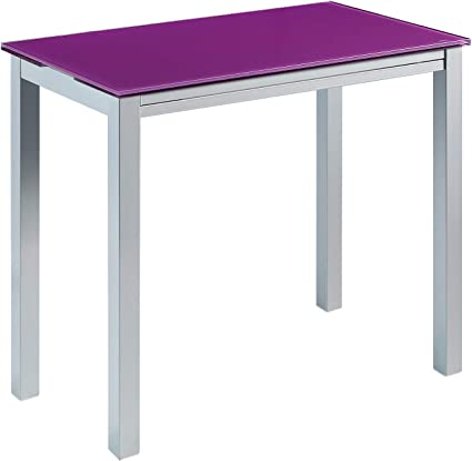 Momma Home Table De Cuisine A Rallonge Modele Londres Couleur Violet Argent Modele En Verre Trempe Metal Mesures 95 X 55 95 X 76 Cm Amazon Fr Cuisine Maison