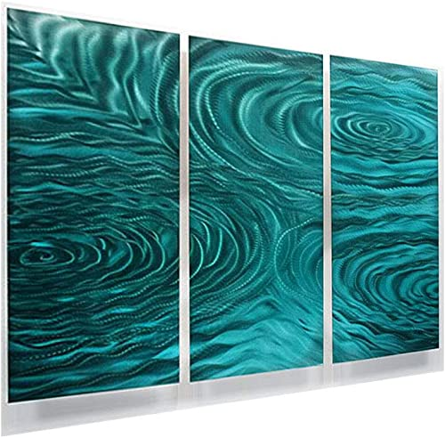 Statements2000 Teal Green Modern Abstract Painting Metal Wall Art Sculpture- Home D cor, Contemporary Design, Home Accent – Teal Liquid Ambiance by Jon Allen