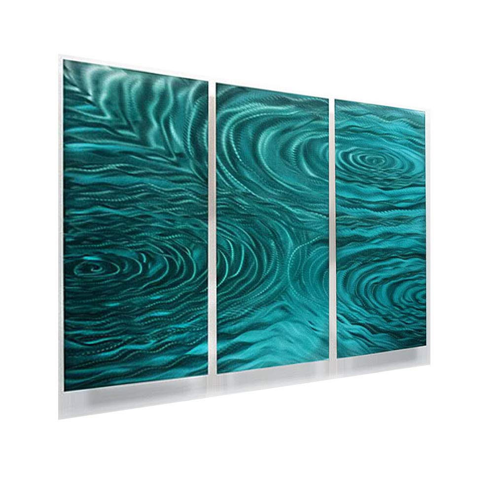 Statements2000 teal green modern abstract painting metal wall art sculpture home décor contemporary design home accent teal liquid ambiance by jon