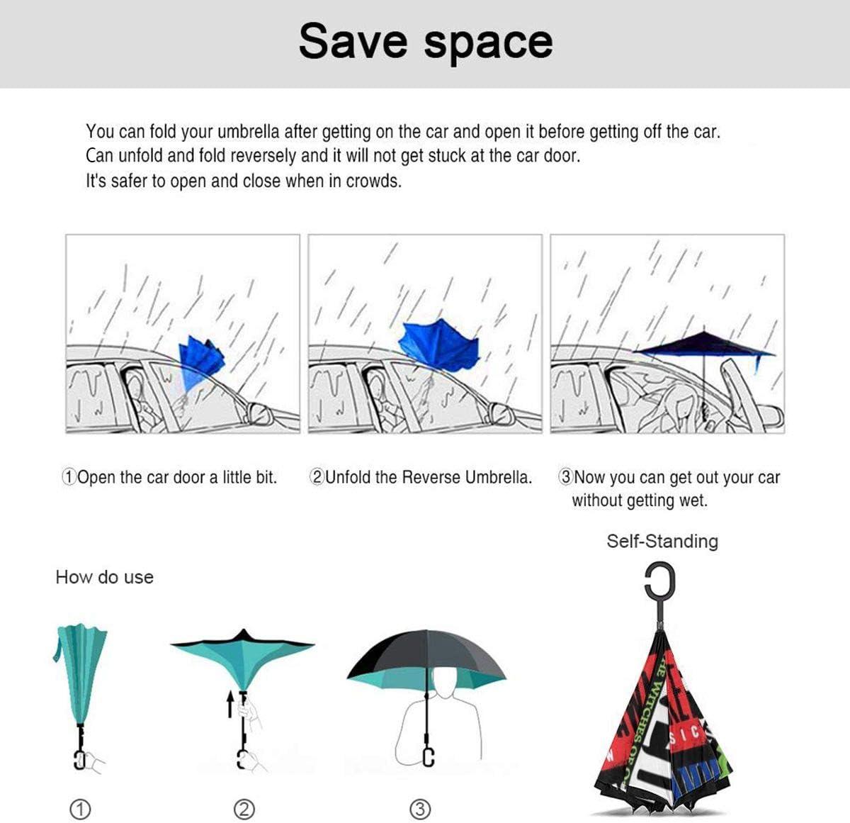 S200US Musical Collage Inverted Reverse Umbrella Sun/&Rain Car Large Windproof Travel UV Umbrella