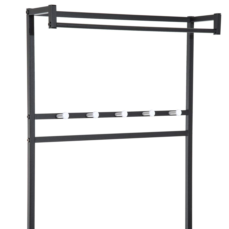 El perchero esta compuesto de 5 ganchos y una barra para perchas