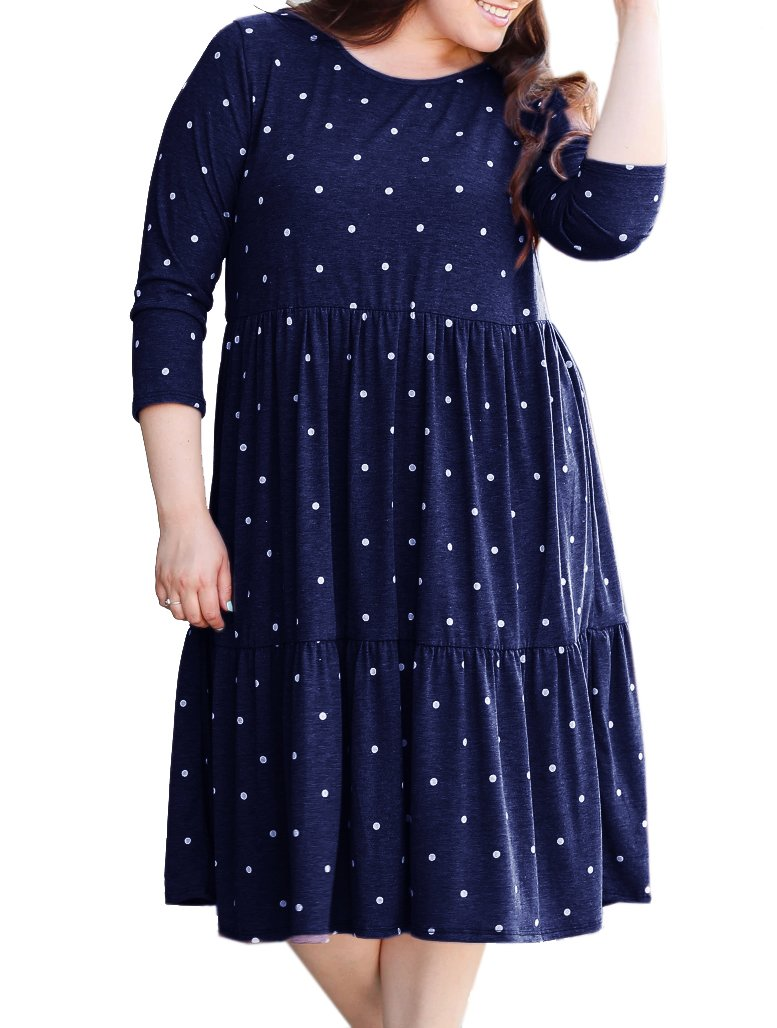 Rotita Women Long Sleeve Polka Dot Plus Size T-Shirt Dress Empire Waist Ruffle Casual Swing Midi Dress