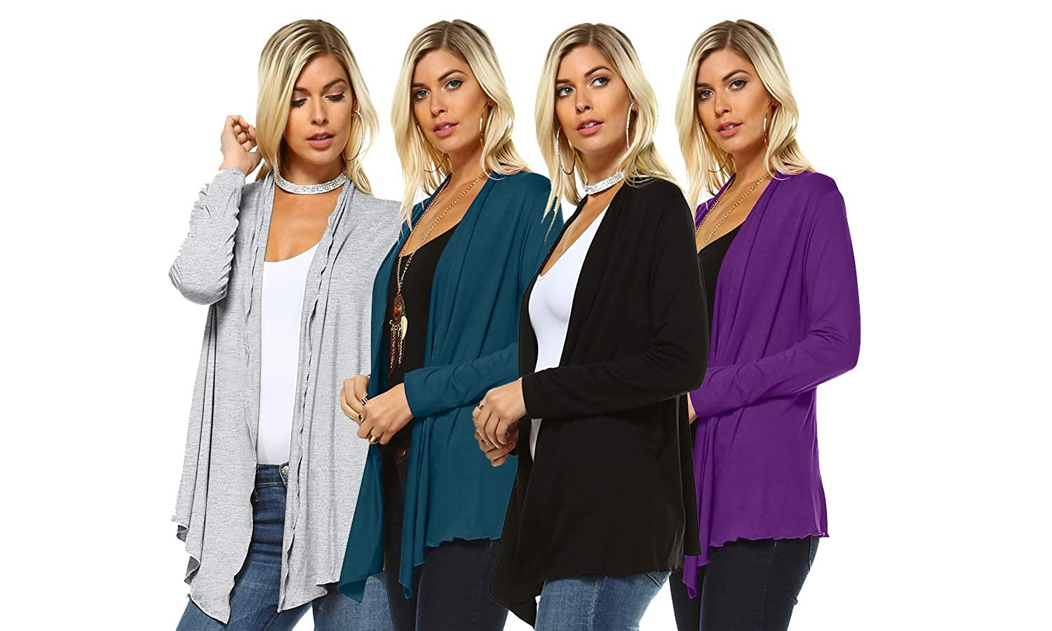59dbb082e3 Isaac Liev 4-Pack Women s Open Front Lightweight Casual Flyaway Cardigan at  Amazon Women s Clothing store