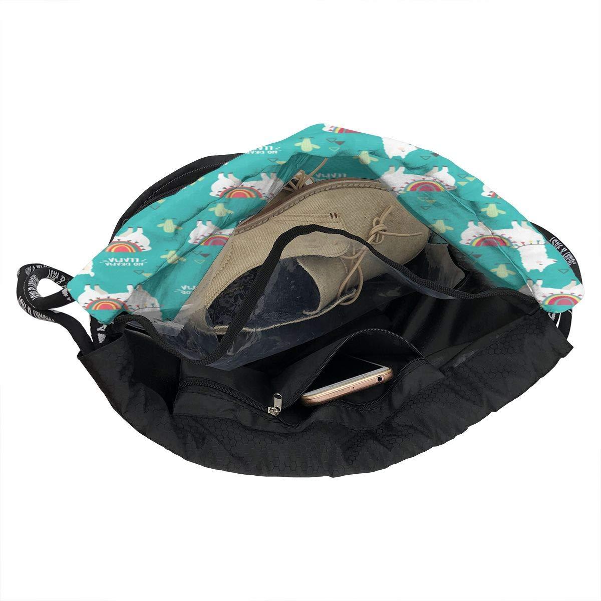 HUOPR5Q No Prob-Llama Drawstring Backpack Sport Gym Sack Shoulder Bulk Bag Dance Bag for School Travel